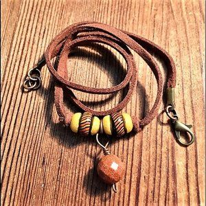 Men's Leather Cord Beaded Necklace